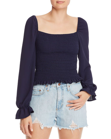 Smocked Cropped Top in Navy