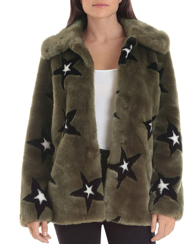 Star-Patterned Faux Fur Coat in Olive/Black/White