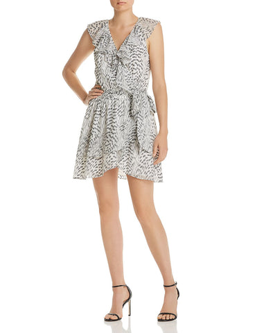 Wilma Embroidered Wrap Dress in Ivory/Black