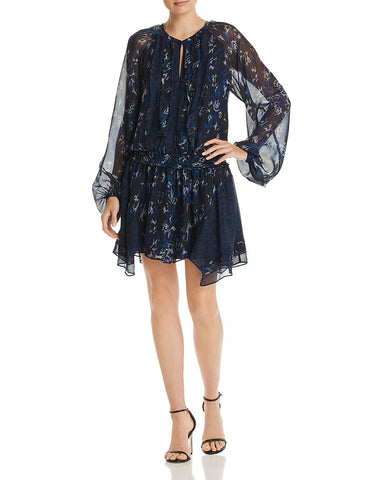 Guinevere Silk Animal-Print Dress in Navy Combo