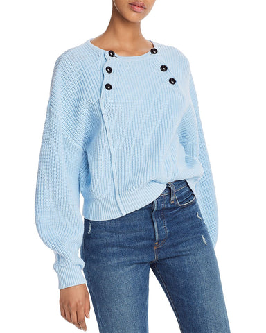 Natalie Front-Button Sweater in Light Blue