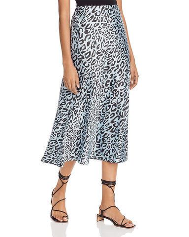 Davis Leopard-Print Midi Skirt in Sky Blue Multi