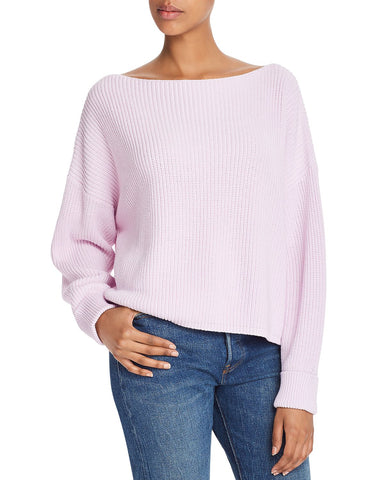 Millie Cotton Boat Neck Sweater in Lavender Frost