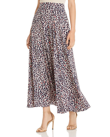 Joyo Leopard-Print Pleated Maxi Skirt in Pink