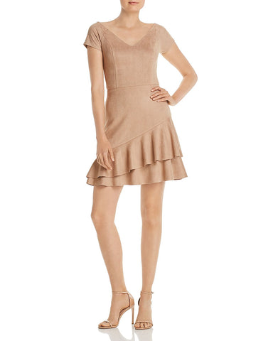 Ruffled Faux Suede Dress in Camel