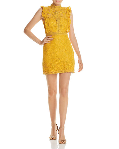 Ruffled Lace Sheath Dress in Marigold