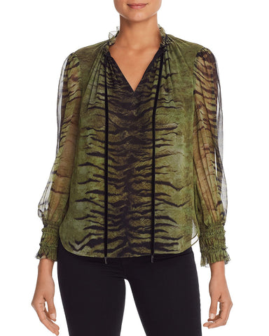 Zeina Tiger-Print Silk Blouse in Thyme