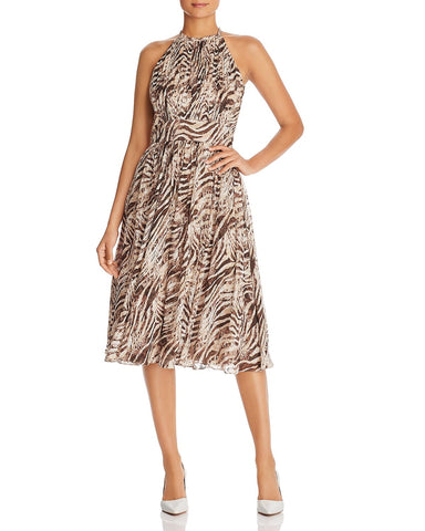 Dominica Zebra-Print Dress in Cocoon Tiger