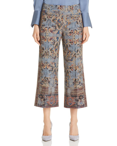 Mirielle Tapestry-Print Cropped Pants in Light Blue Multi