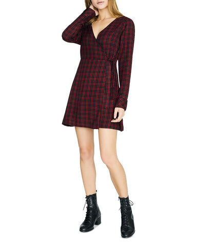 Upbeat Plaid Faux-Wrap Dress in Red