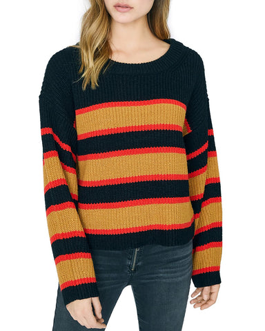 Ezra Striped Sweater in Black