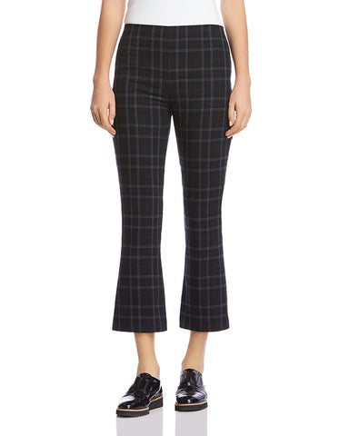 Marie Plaid Cropped Flared Pants in Black Multi