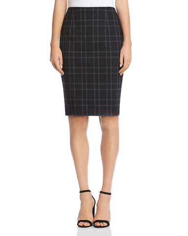 Alex Plaid Pencil Skirt in Black Multi