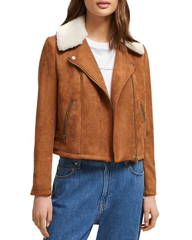 Faux-Shearling Moto Jacket in Brown