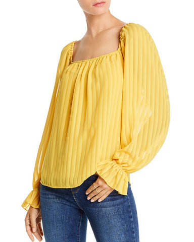 Cara Striped Square-Neck Top in Marigold Shadow Stripe