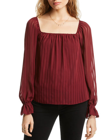 Cara Striped Square-Neck Top in Mahogany Shadow Stripe