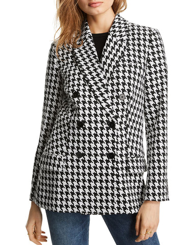 Olivia Houndstooth Blazer in Black/White