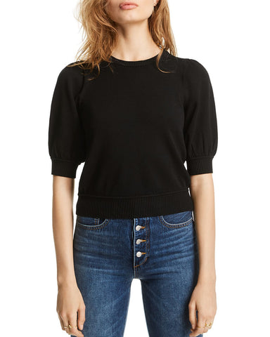 Abigail Puff-Sleeve Sweater in Black