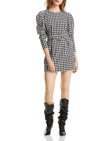 Riley Puff-Sleeve Houndstooth Dress in Black/White