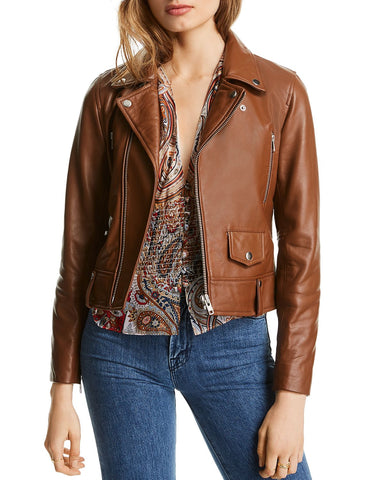 Mila Leather Moto Jacket in Caramel