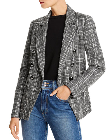 Evelyn Double-Breasted Plaid Blazer in Black/White