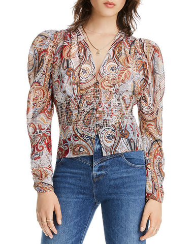 Nora Puff-Sleeve Paisley Smocked Top in Blue Multi