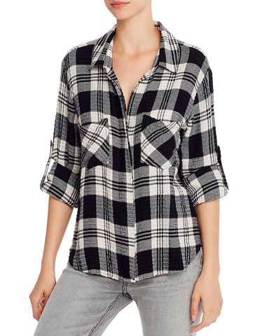 Split-Back Plaid Shirt in Highland Peak