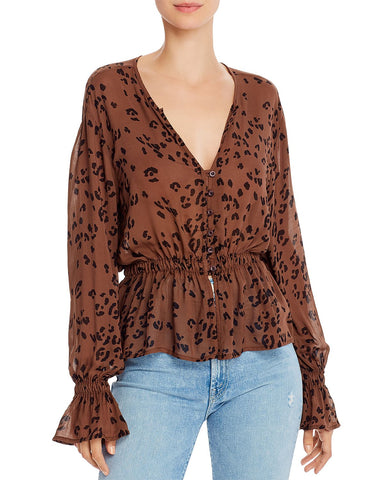 Animal Print Peplum Blouse in Brown Leopard