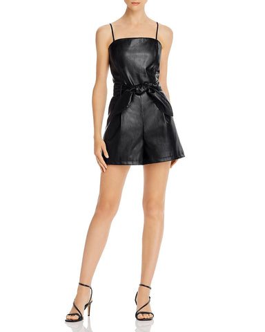 Belted Faux Leather Romper in Black