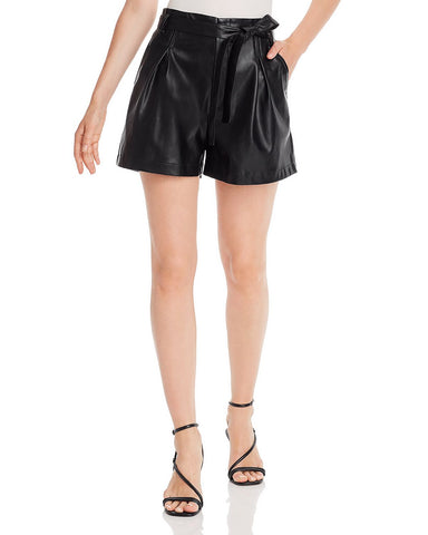 Pleated Faux Leather Shorts in Black