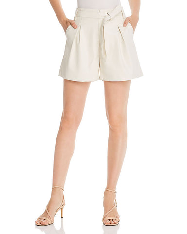 Pleated Faux Leather Shorts in Ecru