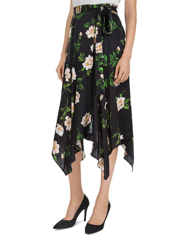 Floral-Print Tie-Detail Silk Midi Skirt in Black/Ecru
