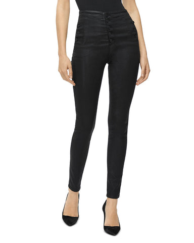 Natasha Button-Fly Coated Skinny Jeans in Fearful