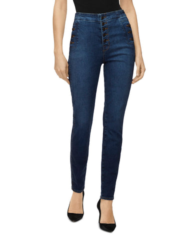 Natasha Button-Fly Sky-High Skinny Jeans in Equalize