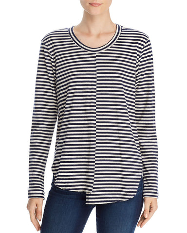 Striped Long Sleeve Asymmetric Tee in Twilight/Cream