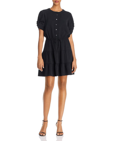 Aston Tiered Button-Front Dress in Black