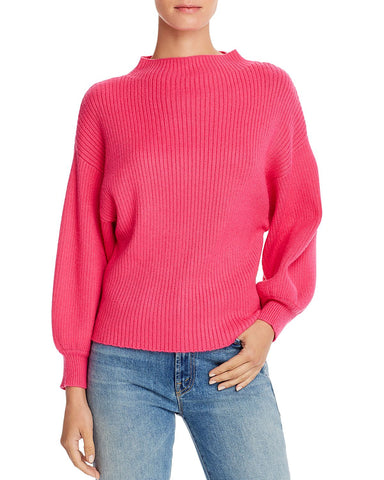 Funnel-Neck Ribbed Sweater in Neon Pink