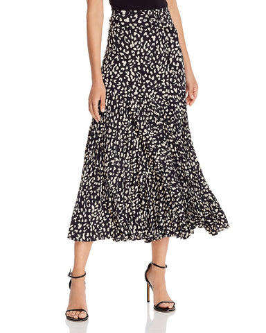 Belted Pleated Midi Skirt in Black Leopard
