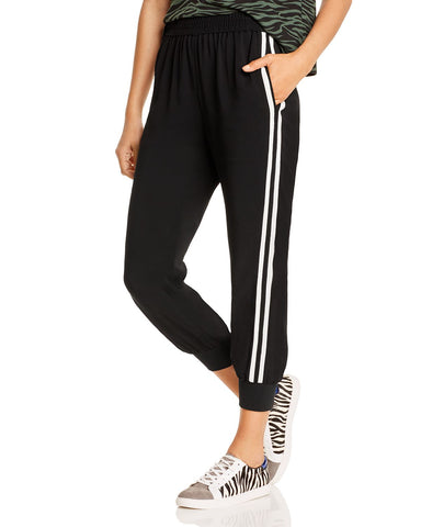 Side-Stripe Jogger Pants in Black With White