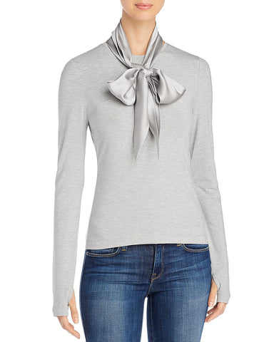 Elisandra Knit Tie-Neck Top in Light Gray