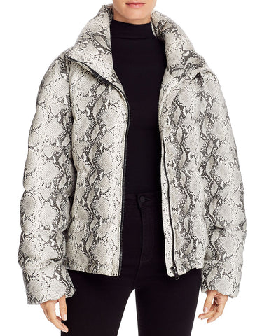 Faux Leather Puffer Jacket in Snakeskin