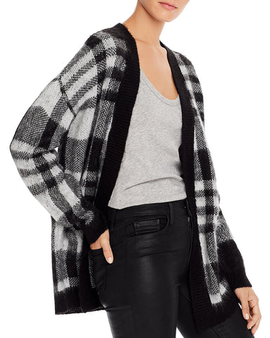 Plaid Open Cardigan Sweater in Black/White
