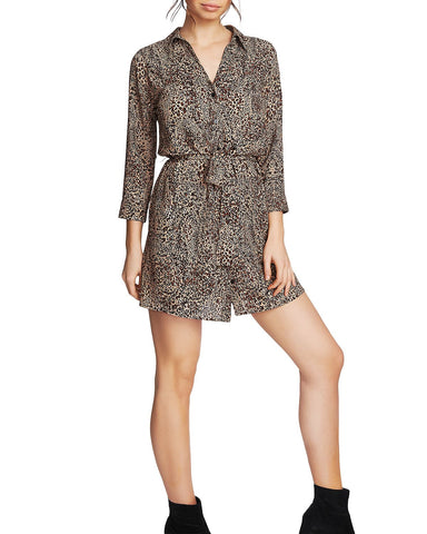 Leopard Print Belted Shirt Dress in Caramel Multi