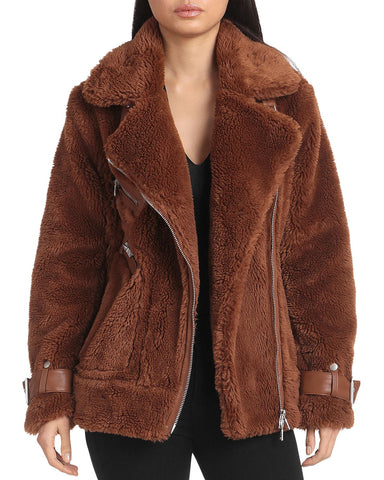 Faux Fur Biker Jacket in Chocolate