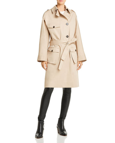 Plaid-Back Trench Coat in Beige