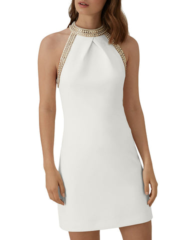 Chain-Trim Dress in White