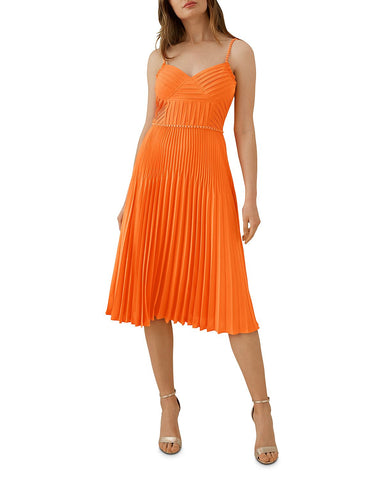 Chain-Trim Pleated Dress in Orange