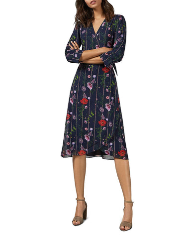 Elowisa Hedgerow-Printed Wrap Dress in Dark Blue