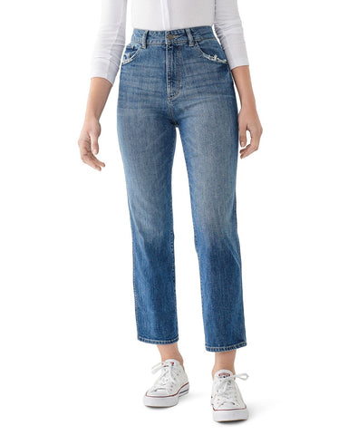 Jerry Cropped Straight-Leg Jeans in Linden