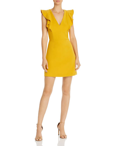 Whisper V-Neck Mini Dress in Mustard Seed